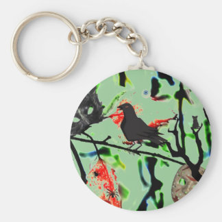 Quoth the Raven Nevermore, Halloween Collage Key Ring