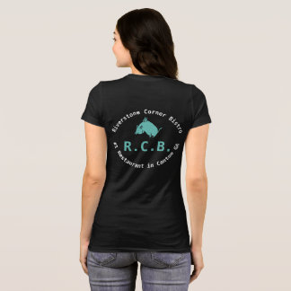 R.C.B. tee shirt flying pig: Teal and white