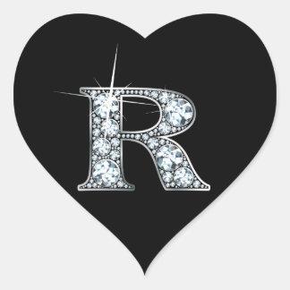 """""""R"""" Diamond Bling on Black Heart Sticker"""