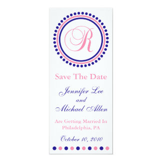 R Dot Circle Monogram Save The Date (Blue / Pink) Personalized Invite
