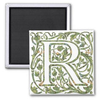 R Floral Monogram Magnet