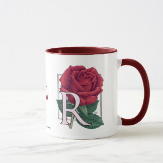 R for Rose Flower Monogram Mug