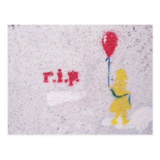 r.i.p. stencil : girl with the red balloon postcard