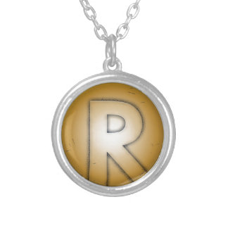 R initial letter personalized necklace