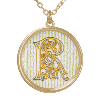 "R Initial Monogram ""Gold Pin Stripe"" Necklace"