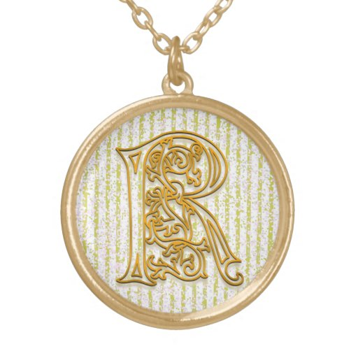 "R Initial Monogram ""Gold Pin Stripe"" Necklace Custom Jewelry"