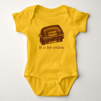 R is for Reuben Sandwich Foodie Alphabet Initial Baby Bodysuit