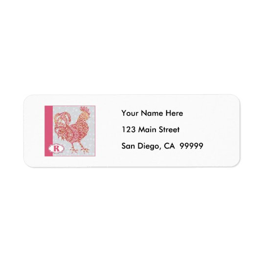 R is for Rooster Return Address Label