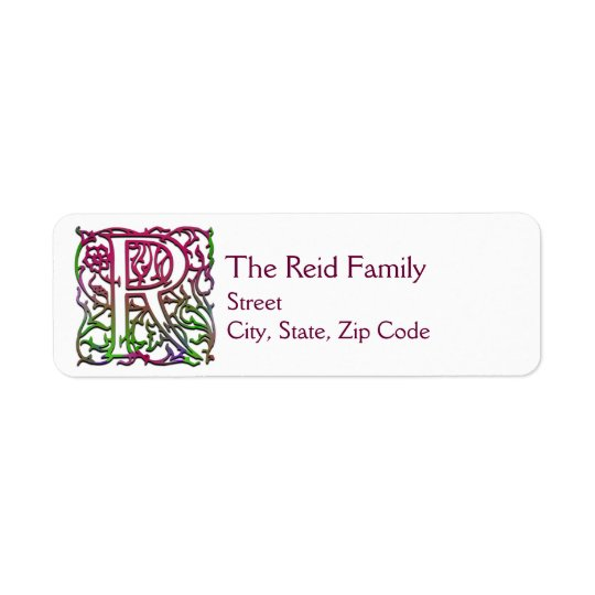 "R Monogram ""Besque Garden"" design Address Labels"