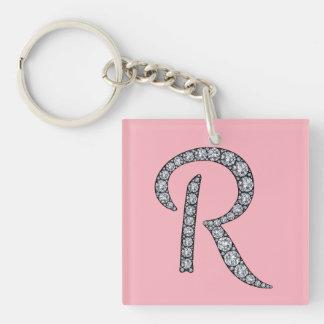 R monogram bling keychain