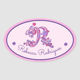R monogram custom name id pink stickers