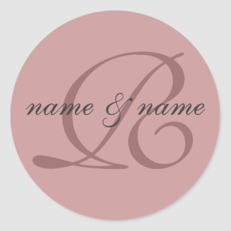 R monogram label - personalize first names