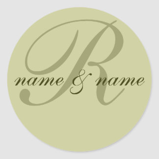 """""""R"""" monogram label, personalize first names Classic Round Sticker"""