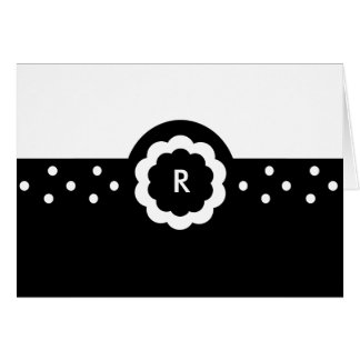 R :: Monogram R Dotted Black & White Note Card