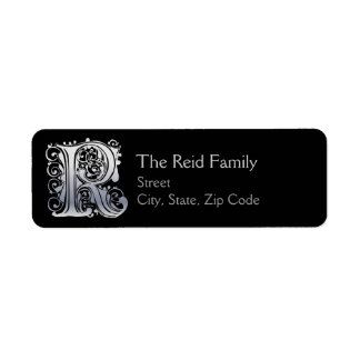 "R Monogram ""Silver Lace"" design Address Lables Return Address Label"