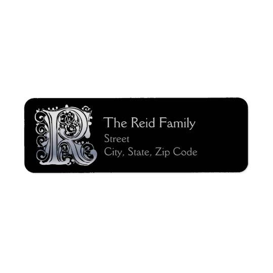 "R Monogram ""Silver Lace"" design Address Lables Return Address Label"