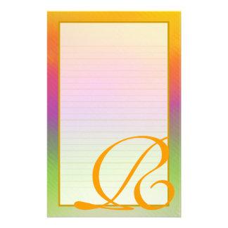 "R Monogram ""Sunrise"" Fine Lined Stationery Custom Stationery"