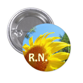 R N buttons Nursing Yellow Sunflower RN