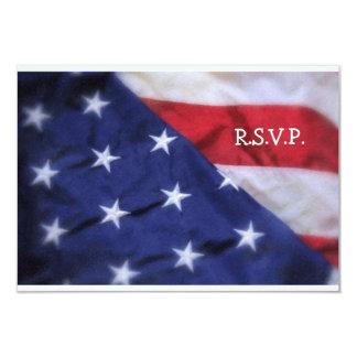 R.S.V.P. Card-American Flag 9 Cm X 13 Cm Invitation Card