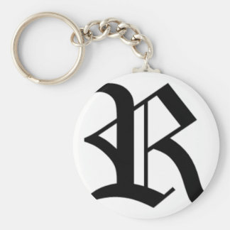 R-text Old English Basic Round Button Key Ring