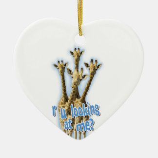 r ulooking at me giraffes ceramic heart decoration