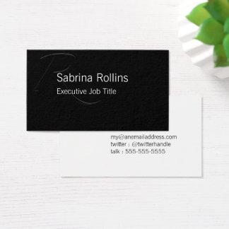 R - Zapfino Initial on Black Business Card