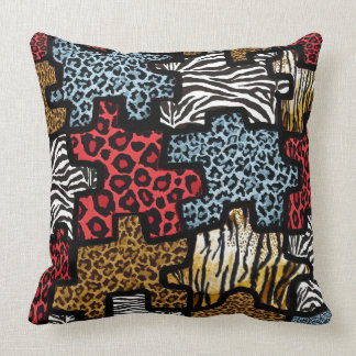 RAB Rockabilly Animal Print Puzzle Throw Pillow