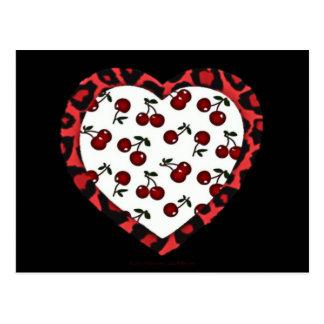 RAB Rockabilly Cherries Leopard Print Heart Postcard