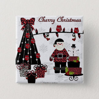 RAB Rockabilly Cherry Christmas Santa Gifts 15 Cm Square Badge