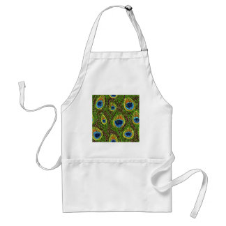 RAB Rockabilly Colorful Peacock Feathers Print Standard Apron