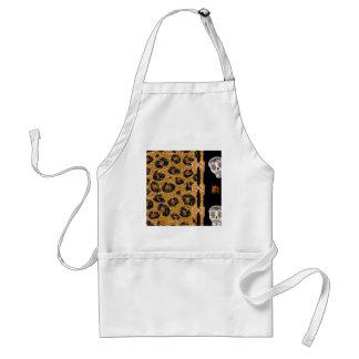 RAB Rockabilly Gold Leopard Print Sugar Skulls Standard Apron