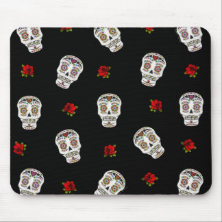 RAB Rockabilly Sugar Skulls Roses On Black Mouse Pad