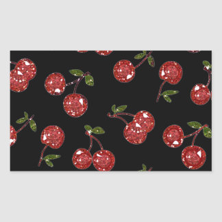 RAB Rockabilly Very Cherry Cherries On Black Rectangular Sticker