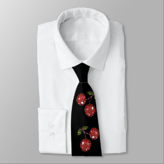 RAB Rockabilly Very Cherry Cherries On Black Tie
