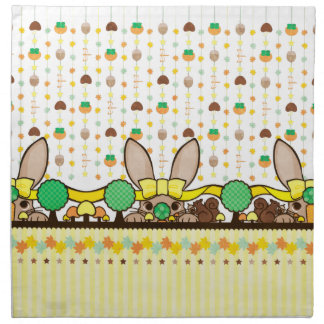 Rabbit and chestnut mouse (Squirrel and rabbit in Cloth Napkins