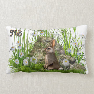 rabbit and daisies in long grass pillow cushion