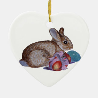 Rabbit And Easter Eggs Painting Ceramic Heart Decoration