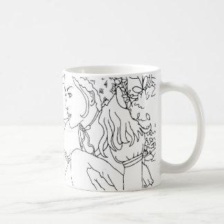 rabbit and girl garden design coffee mug