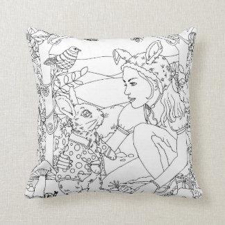 rabbit and girl garden design throw pillow