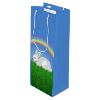 Rabbit and Rainbow Wine Gift Bag