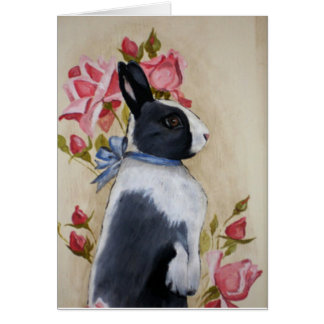 Rabbit and Roses Card