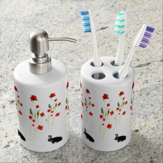 Rabbit Art and Red Poppies Floral Bathroom Set