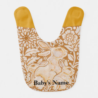 Rabbit Baby Bib Gold White Vintage Personalize