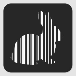 RABBIT BAR CODE Bunny Hare Barcode Pattern Square Sticker