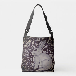 Rabbit Bird Vines Dark Indigo Toned Shopping Tote