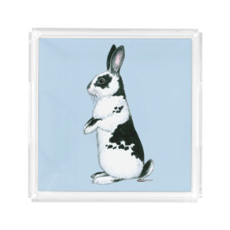 Rabbit:  Black and White Acrylic Tray