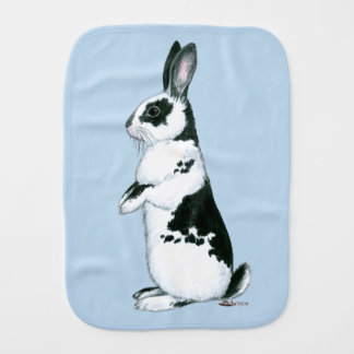 Rabbit:  Black and White Burp Cloth