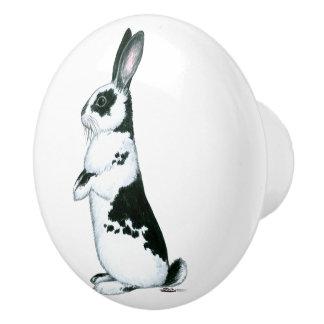 Rabbit:  Black and White Ceramic Knob