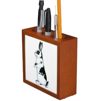 Rabbit:  Black and White Desk Organiser