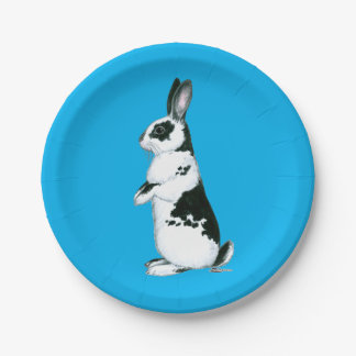 Rabbit:  Black and White Paper Plate